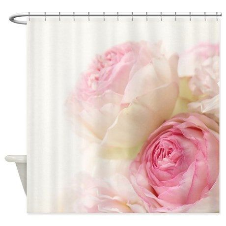 Captivating Pastel Pink Roses Fabric Shower Curtain By VintageChicImages