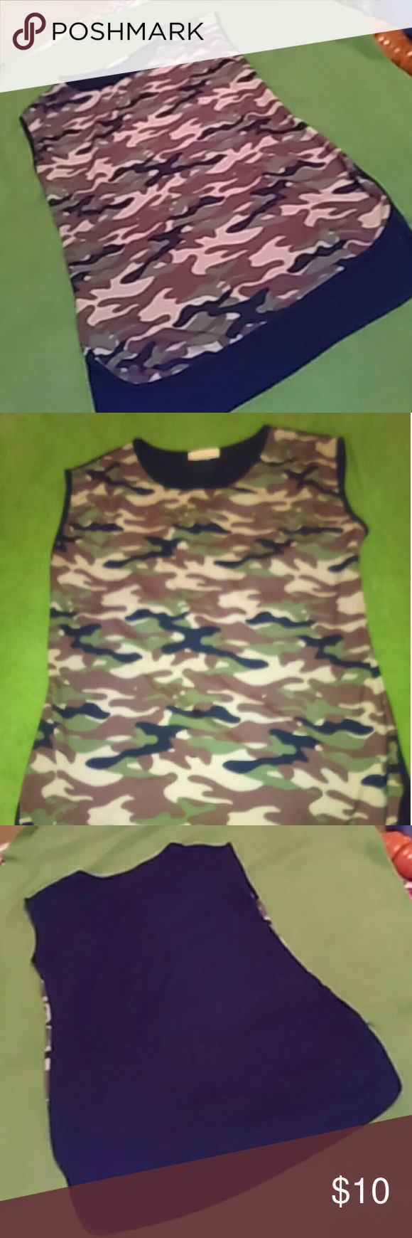 Camo Top Never worn Camo Top. Very short splits on both sides. Tops