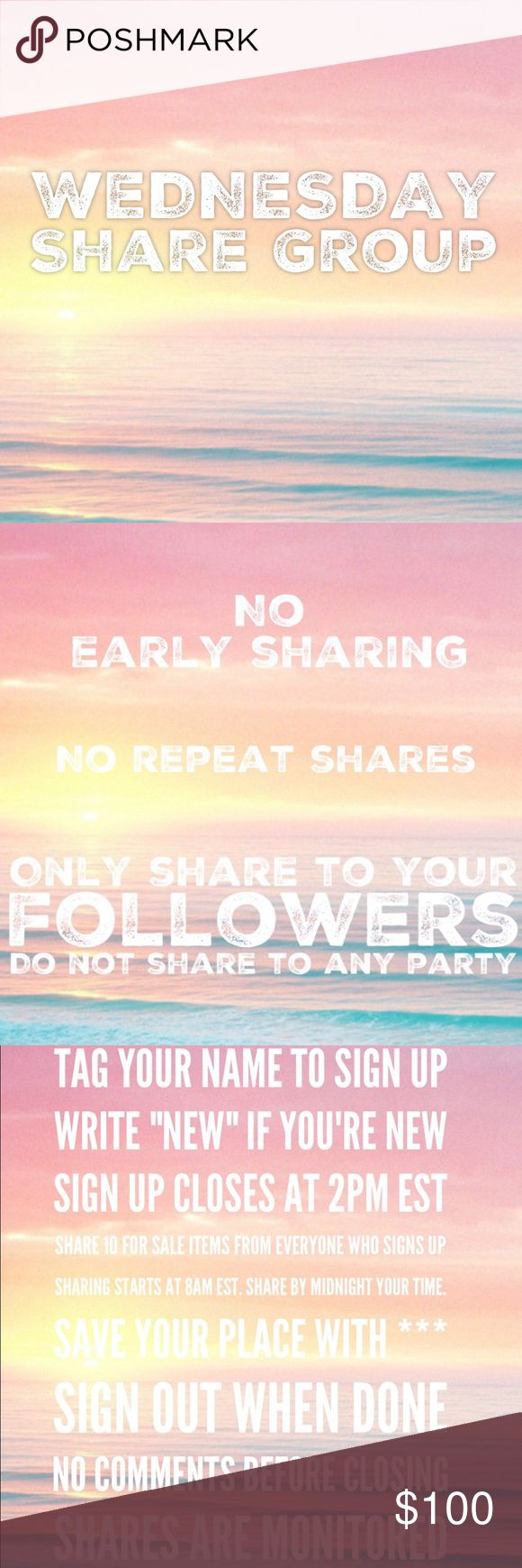 """2/8 Wed Share Group Sign up closes at 2pm est💞Tag your name to sign up💞Write """"new"""" if you're new💞Share 10 for sale items from everyone who signs up💞No sharing until 8am est. Share by midnight your time💞Share to your followers, NOT to parties💞Be Posh compliant or you may be skipped💞Mark your spot with ***and first 3 letters of where you left off💞Sign out when done💞 Be fair and do your part or you will be blocked💞Please only ask questions in the Q&A listing under """"other.""""💞No…"""