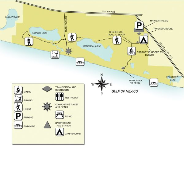 Map Of Topsail Hill Preserve State Park Florida State