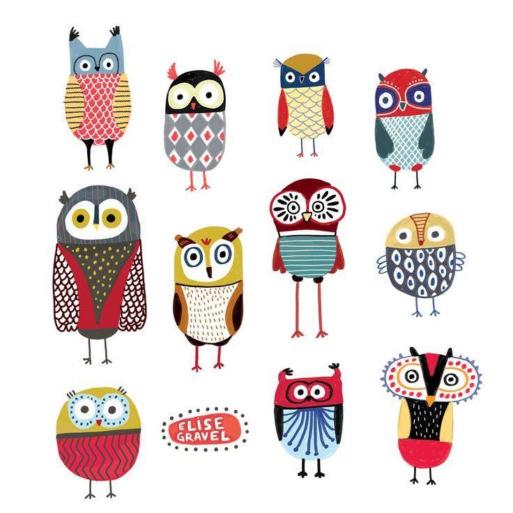 Elise Gravel illustration • Owls • hiboux • animals • birds • art • print • colourful • drawing • cute • nature