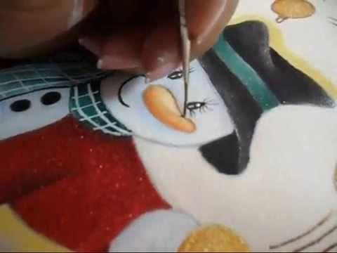 Como Pintar un Muñeco de Nieve en Tela paso a paso parte 2 ( tempo real)