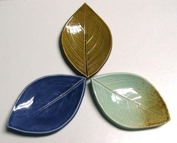 Set of Three Hand Built Leaf Plates, Persimmon Leaf