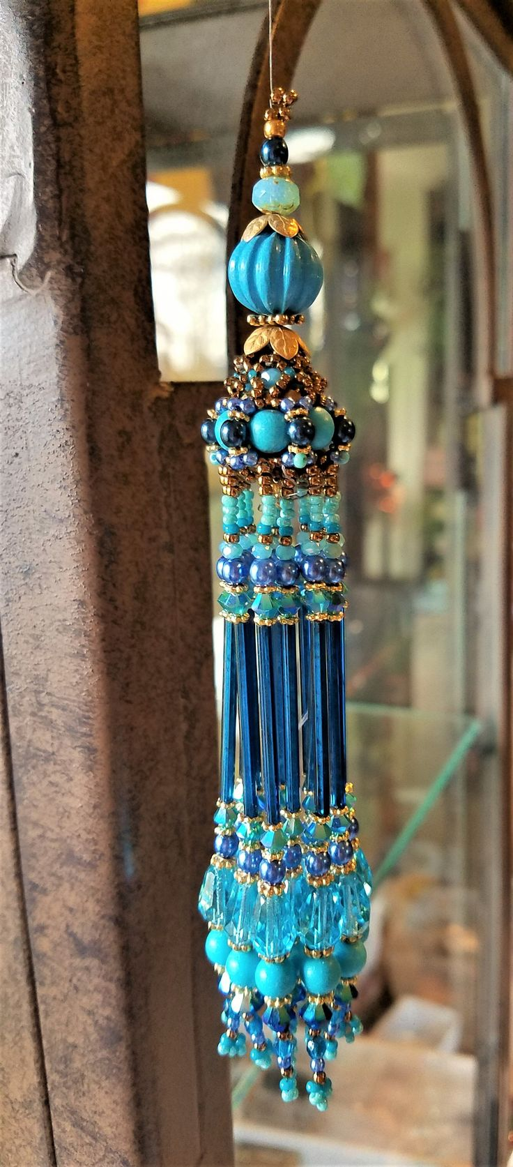 Kiowa Rose Beads-Beaded bead tassel for Turquoise necklace. Kiowarose.com or kiowarosebeads.etsy.com