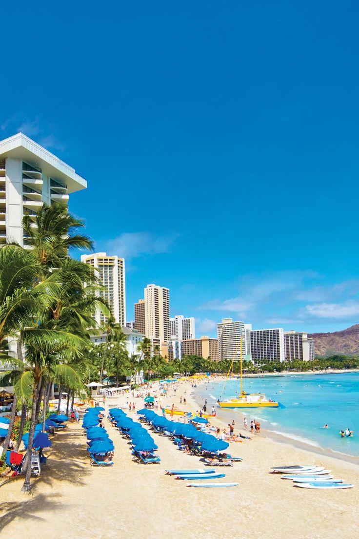 Oahu beach chair rental hawaii beach time - Waikiki Beach In Hawaii Those Are Our Blue Umbrellas Outrigger On The Beach