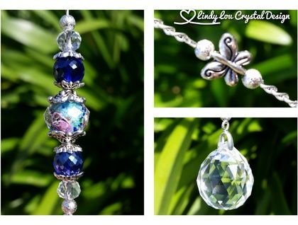 20mm Crystal Ball Prism With Painted Crystal Lampwork Bead