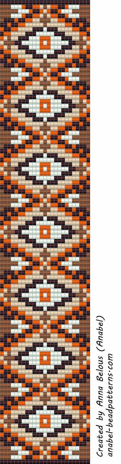 Схема браслета из бисера - станочное ткачество / гобеленовое плетение | - Схемы для бисероплетения / Free bead patterns -