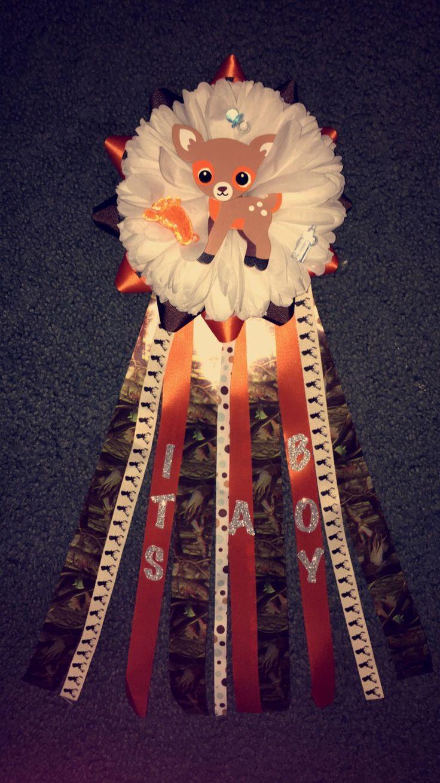 """It's a Boy"" baby shower mum. (Real tree Camo and orange ribbon)"