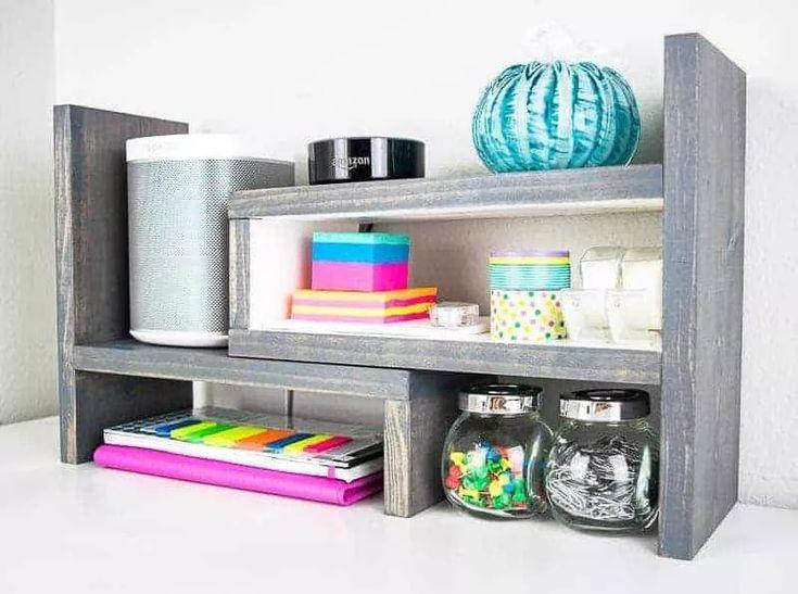 Diy adjustable desktop organizer diy desk plans desktop