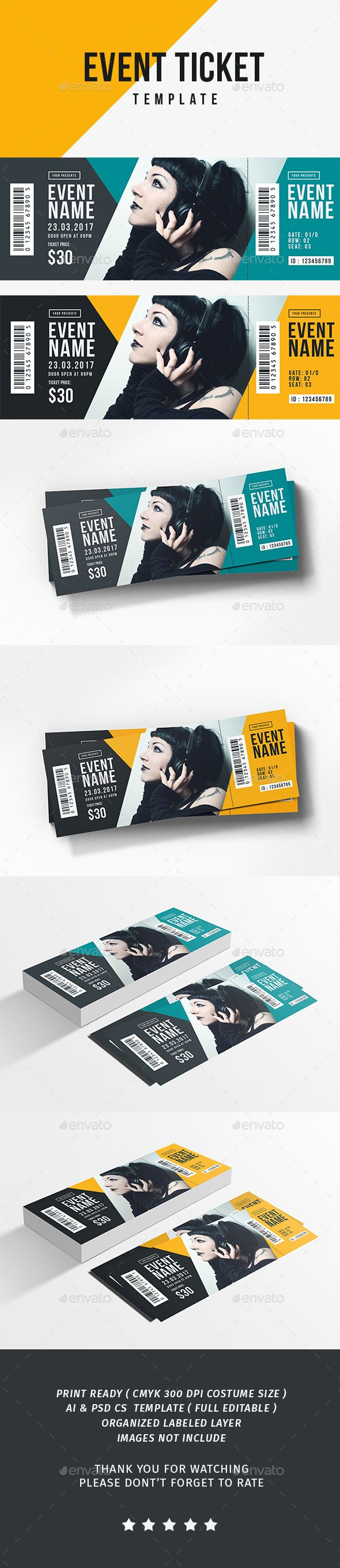 Event Ticket — Photoshop PSD #conference #unique • Download ➝ https://graphicriver.net/item/event-ticket/19455171?ref=pxcr
