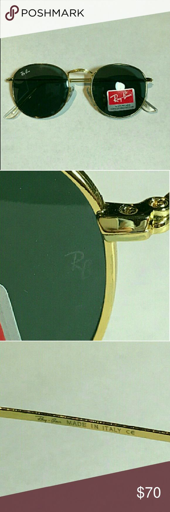 NWT Round Ray-Bans RB3447 Black/Gold These are round Ray-Bans RB3447 Sunglasses in BLACK lens GOLD frame. STANDARD SIZE. These sunglasses do not come with original packaging. Reasonable offers accepted. Same day shipping Ray-Ban Accessories Glasses
