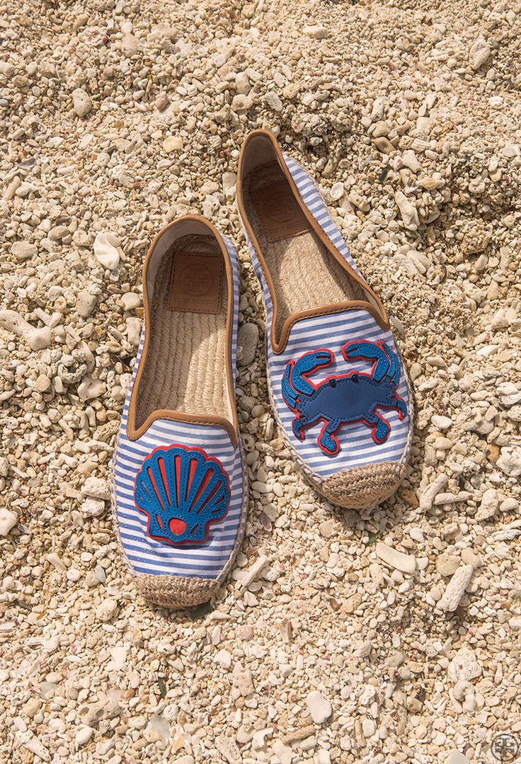"toryburch: ""C is for Crab Mentality Playful detailing meets classic  maritime stripes on Tory's crab flat espadrille. Shop the look."