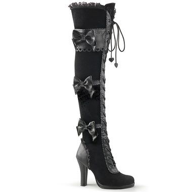 3.75 inch heel with 0.5 inch toe platform Gothic lolita styled over the knee lace-up boot Black vegan leather calf boot Bow and scallop details 1/3 inside zip closure for easier on/off [[starttab]] Sh
