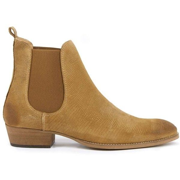 TOPMAN Tan Suede Chelsea Boots (135 CAD) ❤ liked on Polyvore featuring men's fashion, men's shoes, men's boots, brown, mens suede boots, mens tan shoes, mens cuban heel shoes, mens suede chelsea boots and topman mens shoes