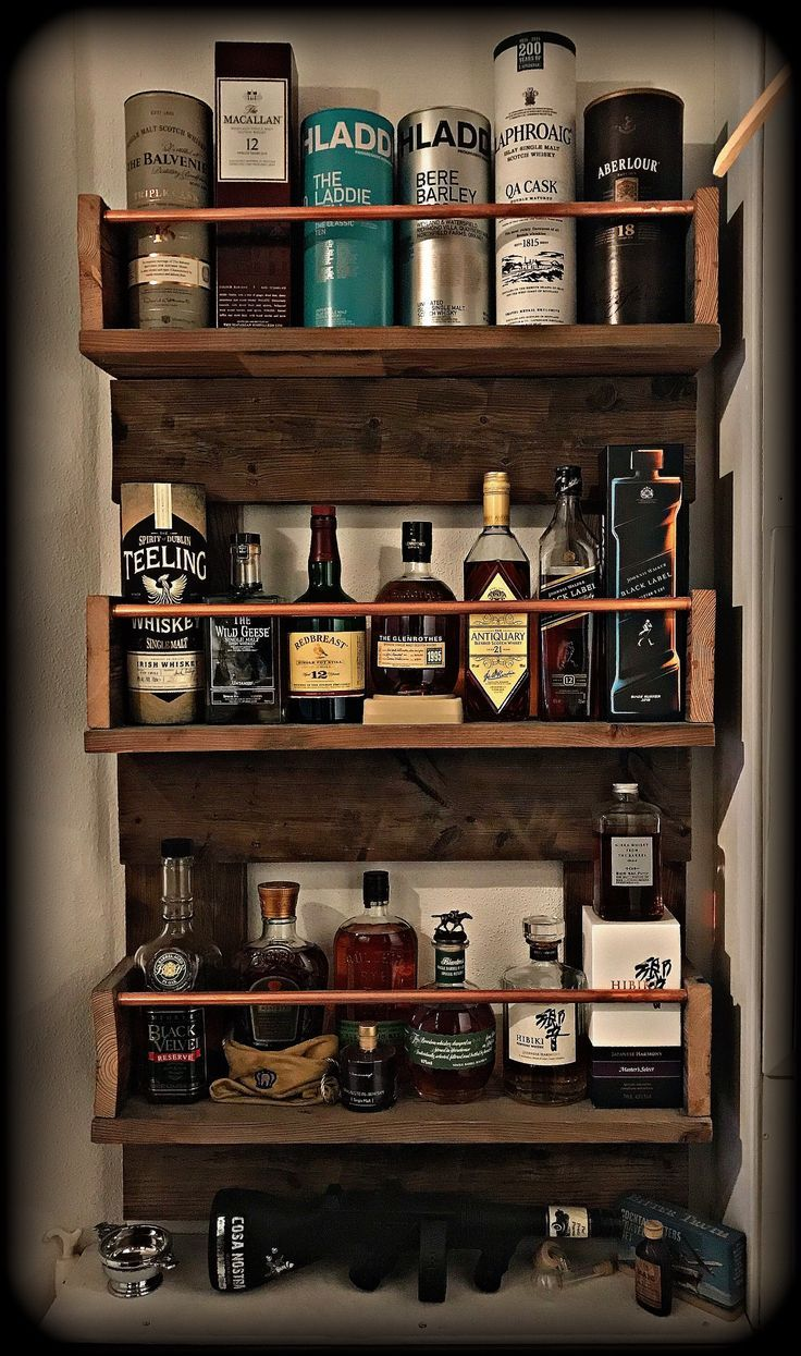 Rustic Whiskey Rack For The Whisky Or Bourbon Guys N Girls Upcycled From Quality Wood Pleas Whisky Bar Alcohol Bar Whiskey Rack