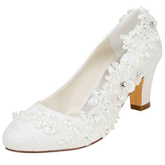 830ddf08bec Emily Bridal Wedding Shoes Women s Silk Like Satin Chunky Heel Pumps with  Stitching Lace Flower Crystal Pearl (EU36 UK3.5