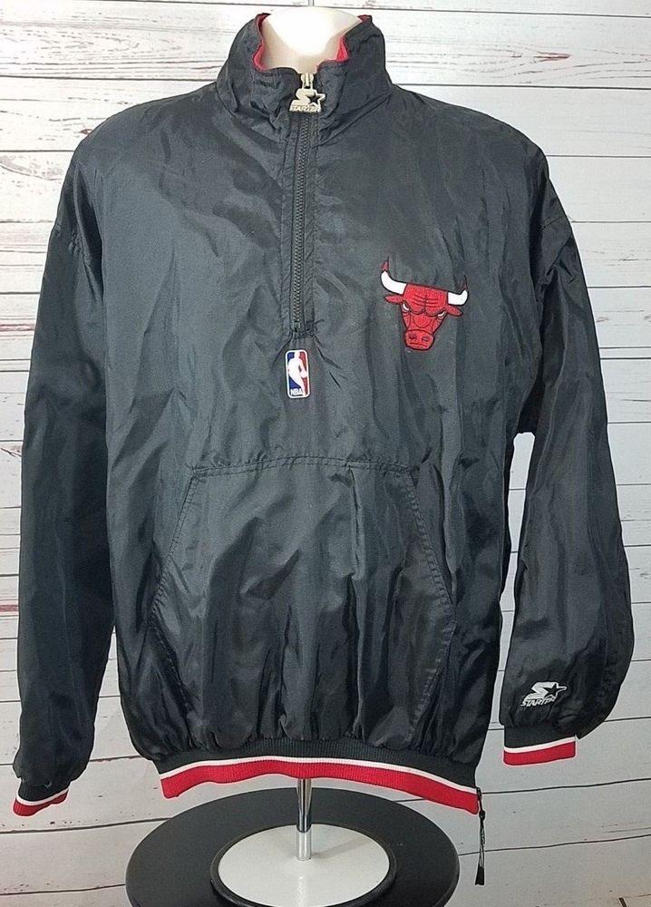 32caa1b480d Chicago Bulls Starter Pull Over Vintage Black Red Men s Size XL  Starter   ChicagoBulls