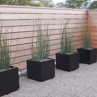 horizontal wide slatted contemporary fence Make these planters with milk crates, gorilla glue & some type exterior grade panels.