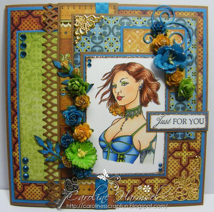 """Digi """"Cameo 5"""". Colored with Copics: Skin: E0000, E000, E00, E01, E11 Bluss: E93 Mouth: R24, R29 Eyes: E23, YG03, YG25 Hair: E13, E15, E17, E19 Clothing: B21, B23, B24, B26, YG03, YG25, YG17 Rose: YR31, YR12, Y17, YR16"""