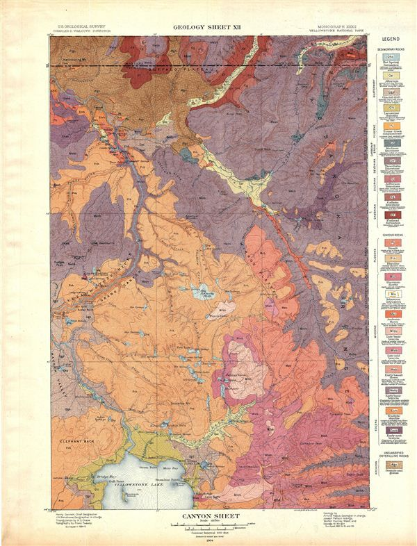 1904 Usgs Geologic Map Of Canyon Yellowstone National Park