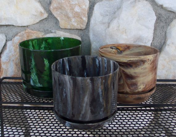 Vintage Marbleized Plastic Planter Collection by ModernJelly