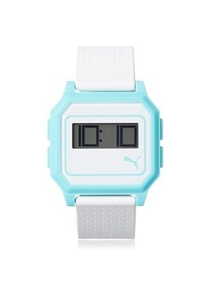 47% OFF PUMA Unisex PU910951008 Flat Screen White/Blue Digital Rubber Watch