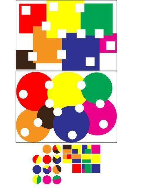 Completa con coloreados círculos y cuadrados