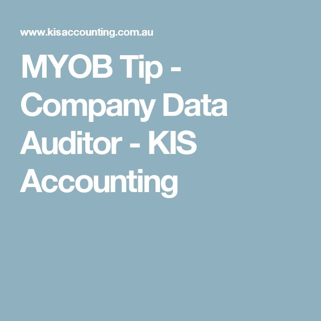 MYOB Tip - Company Data Auditor - KIS Accounting