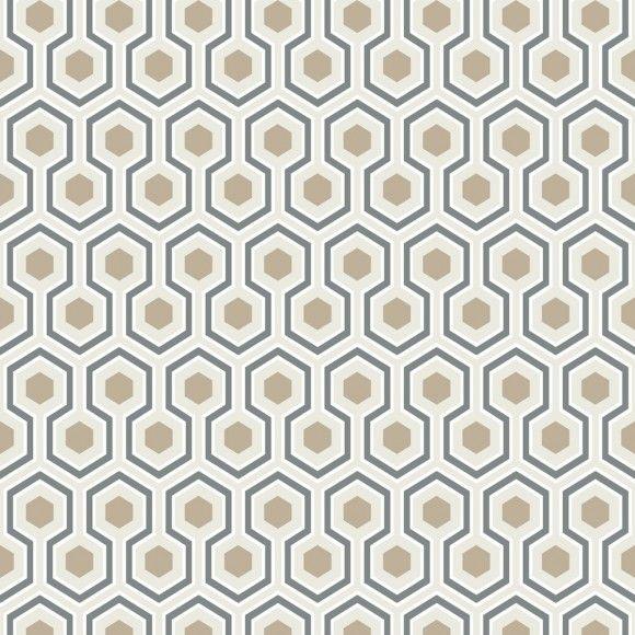 Papier peint géométrique blanc Hicks Hexagon - Cole and Son
