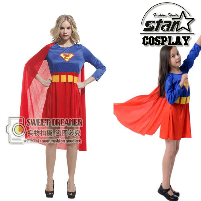 New Arrival 2017 Supergirl Costume Mother Superhero Cosplay Girls Fancy Dress Superman Costume Family Cosplay Gown Clothes