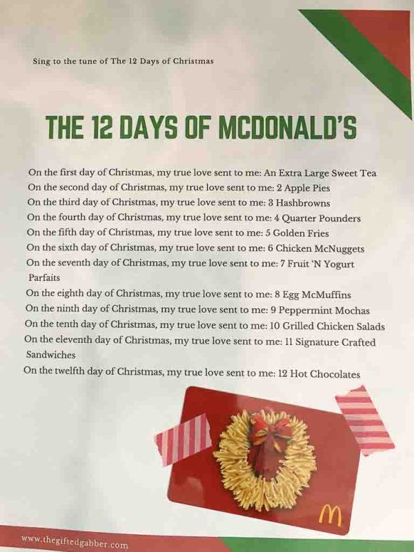 the 12 days of mcdonalds cheeky and free printable to go with mcdonalds gift card giftcardideas christmasgiftideas the gifted gabber