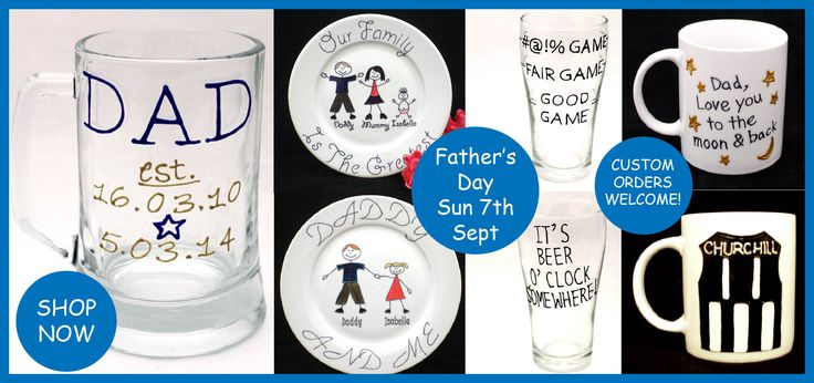 Personalised and hand painted gifts for Father's Day