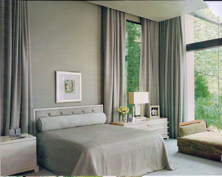 Elegant Gray Floor To Ceiling Curtains With Queen Platform Bed And Pair Of  White Nightstand And Square Shade Lamps As Well As Gray Wall Painted Modern  Open ...