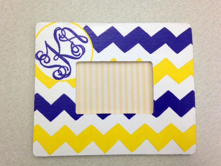 Monogrammed & Chevron picture frame