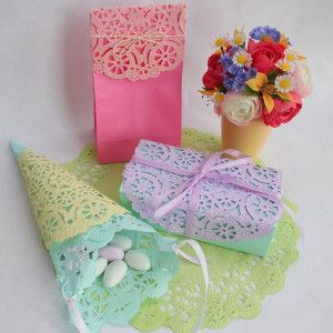 Kids can make these color-appropriate doilies for Easter. They make the perfect gift wrap or decorations.