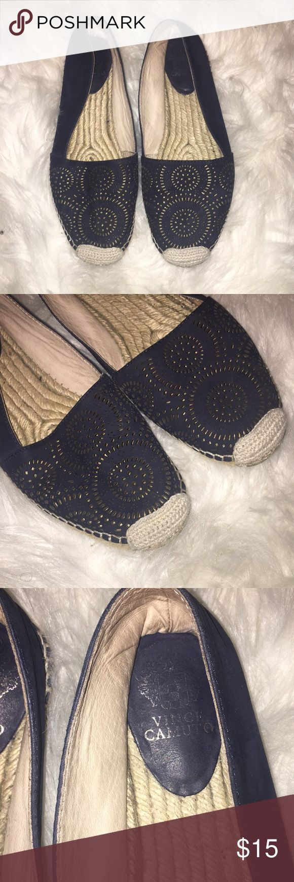 Vince Camuto navy espadrilles Vince Camuto navy with cutout design espadrilles perfect for the summer. Only look worn on the bottom of the shoe. Vince Camuto Shoes Espadrilles