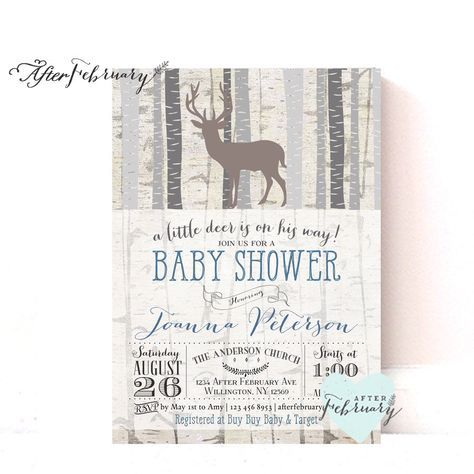 Woodland Baby Shower Invitation - Baby Boy Shower Invite Deer Shower Invites Birch Deer Trees Vintage Retro Rustic - Typography - No.859 by AfterFebruary on Etsy https://www.etsy.com/listing/218499258/woodland-baby-shower-invitation-baby-boy