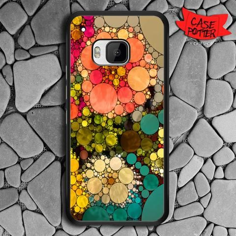 Pattern Round Full Color HTC One M9 Black Case