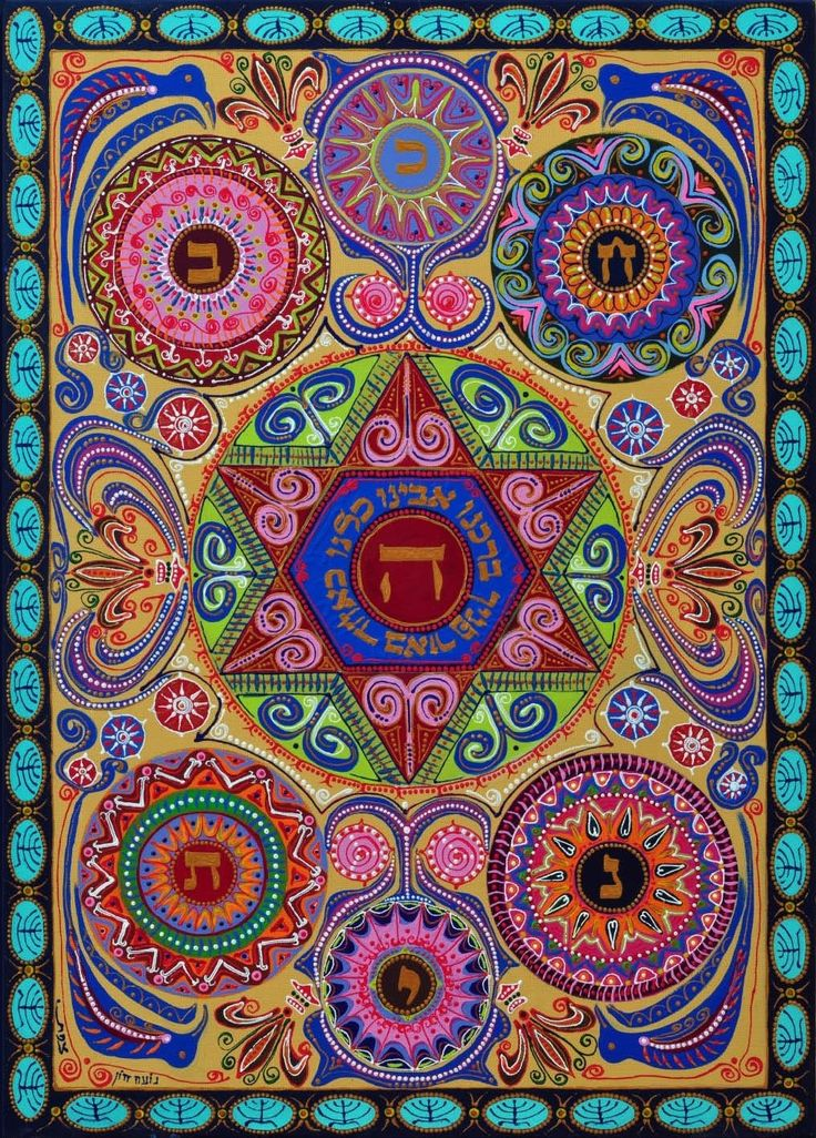 Hebrew mandala-bless us all,G!D mandala home blessing,with part of the kabbala sphirot