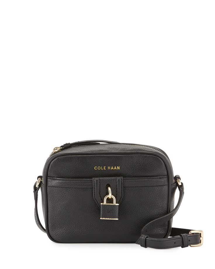 Cole Haan Locklyn Leather Crossbody Bag, Black, Women's