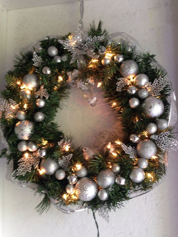 Hey, I found this really awesome Etsy listing at https://www.etsy.com/listing/238367294/christmas-wreath-lighted-wreath-silver