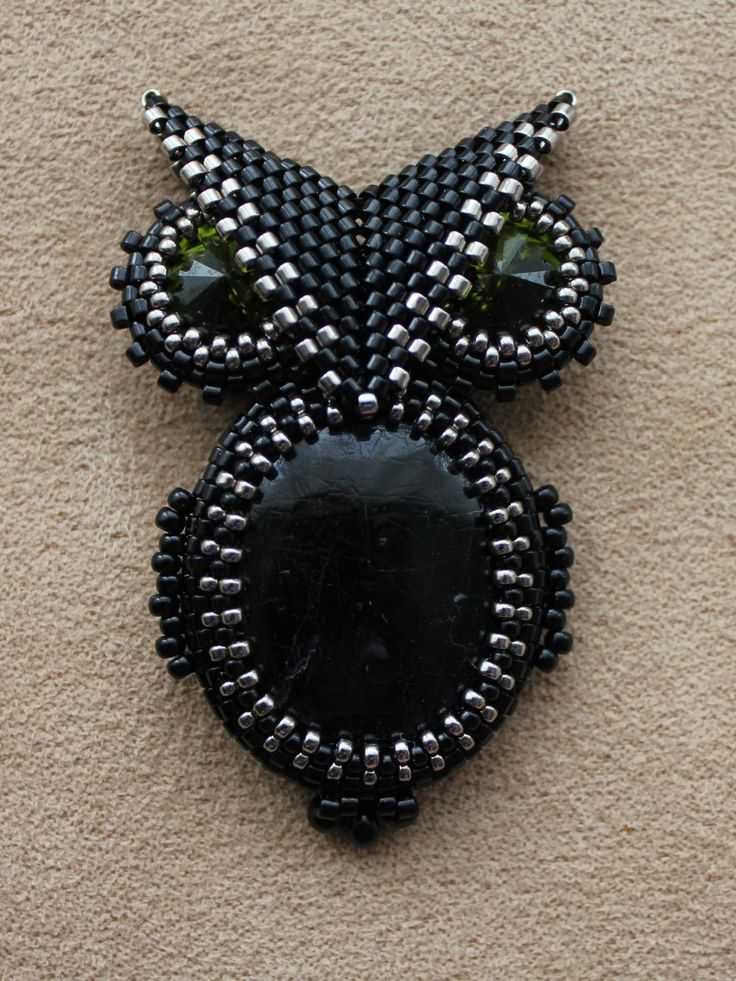 "Brooch ""Black Owl"" and suspension ""Sting"" No instructions, Russian site, but love the idea."