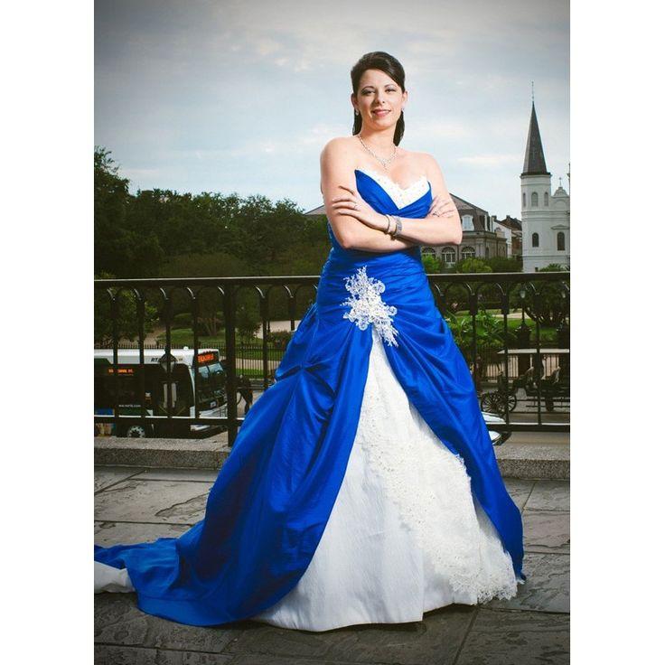 Gothic Wedding Dresses Plus Size: Royal Blue And White Sweetheart Lace Gothic Wedding