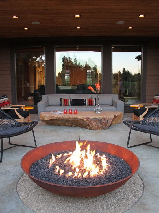 30 Impressive Patio Design Ideas. I LOVE the coffee table and fire pit!