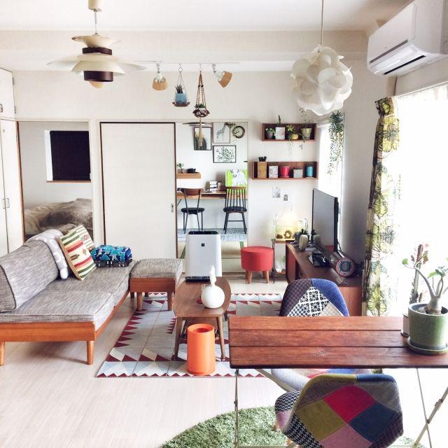 hitomiさんの、部屋全体,賃貸,北欧インテリア,2人暮らし,築20年,入居後,unico ソファ,植物のある暮らし,のお部屋写真