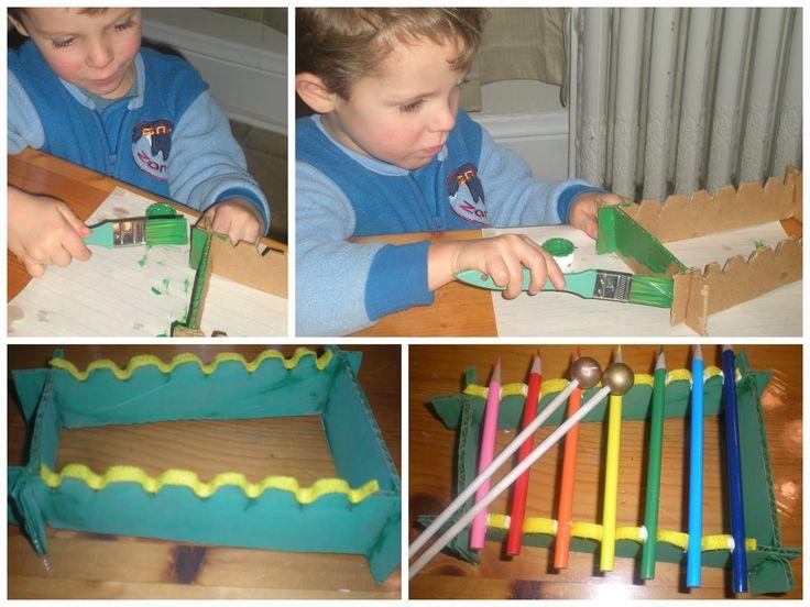 15 ideias criativas para fazer instrumentos musicais com crianças - xilofone de lápis