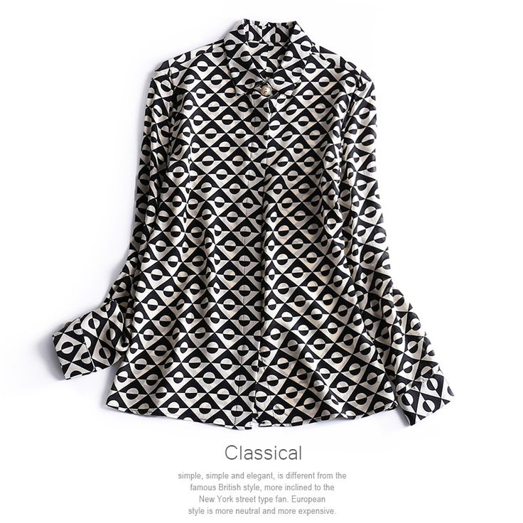 geometric patterns print fashion women silk shirts long sleeve tops turn down collar new 2017 spring summer black red ol style