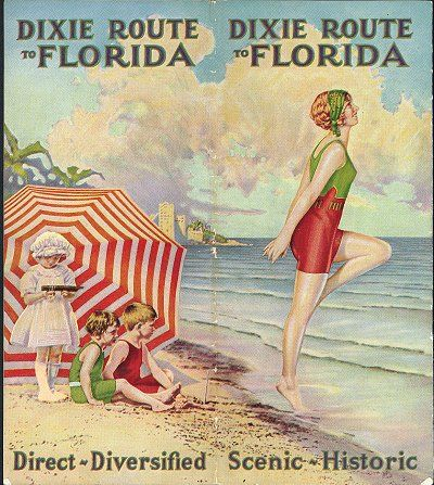 Take the Dixie Route - Florida 1920's (U.S.A.) vintage travel beach poster  www.varaldocosmetica.it/en