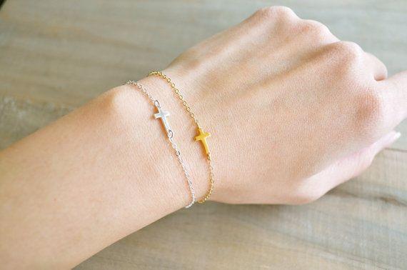 Sideways Cross Bracelet Mini / Tiny - 24K Gold Vermeil - Celebrity bracelet, Kelly Ripa, Taylor Jacobson, Jennifer Lopez, Easter, Religious on Etsy, $24.18