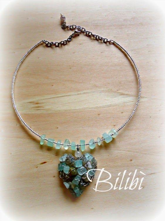 Bilibì: heart necklace with semi-precious stones